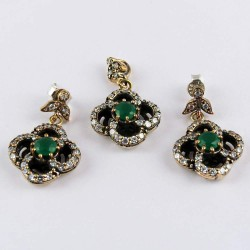 Turkish Jewelry !! 925 Sterling Silver Set with Brass