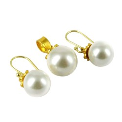Gemstone Silver Jewelry Pearl Silver Jewelry Set With Gold Plated