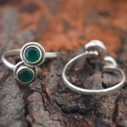 Green C.Z 925 Sterling Silver Toe Ring