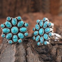 Awesome Royal Look !! Green Turquoise flower shape 925 Sterling Silver Toe Rings