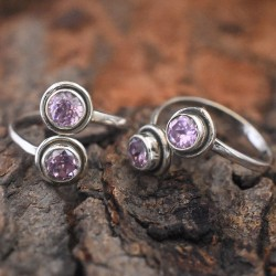 Beautiful Pink C.Z 925 Sterling Silver Toe Ring