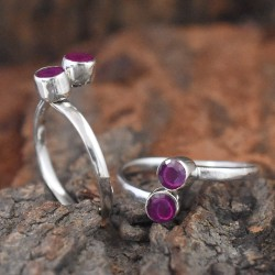 Beautiful Rubbey Red C.Z Stone 925 Sterling Silver Toe Ring