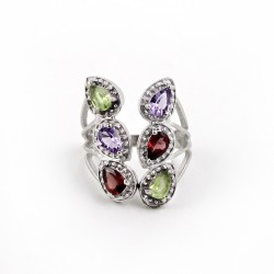 925 Sterling Silver Multi Color Stone Pear Shape Rhodium Plated Ring