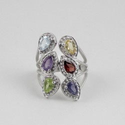 925 Sterling Silver Rhodium Plated Multi Color Stone Ring Jewelry