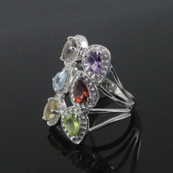 925 Sterling Silver Rhodium Plated Natural Multi Stone Ring Handmade Ring