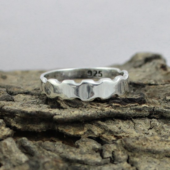 925 Sterling Plain Silver Handmade Band Ring Jewelry Gift For Her