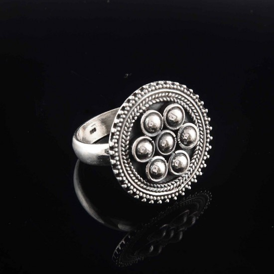925 Sterling Plain Silver Engagement Ring Oxidized Jewelry Gift For Her