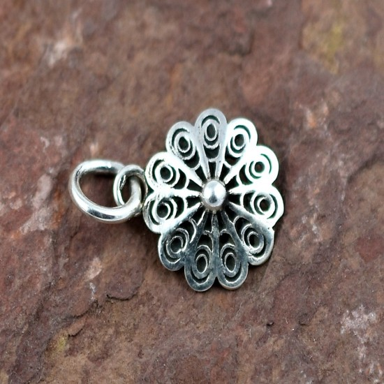 925 Sterling Plain Silver Flower Charming Pendant Manufacture Silver Jewelry