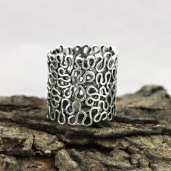925 Sterling Plain Silver Handmade Mash Band Ring Jewelry