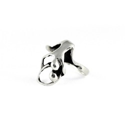 925 Sterling Plain Silver Handmade Human Figure Ring Oxidized Jewelry