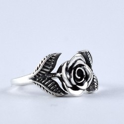 925 Sterling Plain Silver ROSE Design Oxidized Silver Ring Jewellery Exporter Manufacture Silver Ring Jewellery