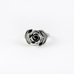 925 Sterling Plain Silver Rose Design Handmade Ring Oxidized Jewelry