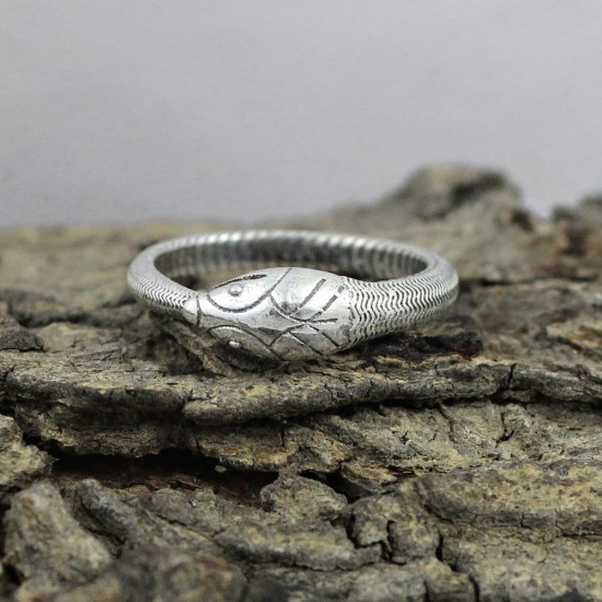 925 Sterling Plain Silver Snake Design Ring Jewelry