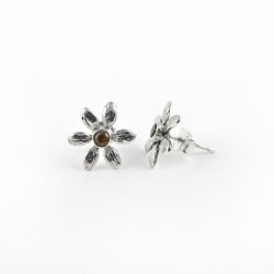 925 Sterling Silver Citrine Stone Flower Design Stud Earring Jewelry