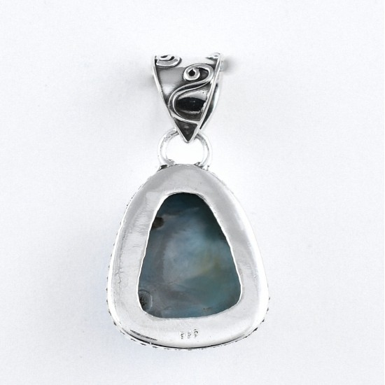 925 Sterling Silver Handmade Natural Larimar Pendant Triangle Shape Birthstone Jewellery Gift For Her