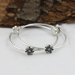Excellent Quality !! Multi C.Z Round Shape Gemstone Bangle 925 Sterling Silver Bangle Jewelry