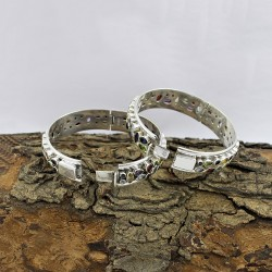 925 Sterling Silver Multi Stone Handmade Bangle