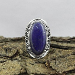 Fantastic !! Lapis Gemstone oval Shape 925 Sterling Silver Ring