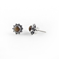 925 Sterling Silver Natural Brown Tiger Eye Stud Earring Jewelry