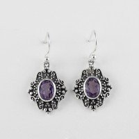 925 Sterling Silver Purple Amethyst Earring Jewelry Gift For Her