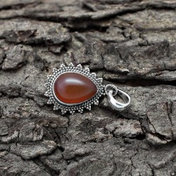 Antique !! 925 Sterling Silver Red Onyx Pear Shape Pendant Handmade Jewelry