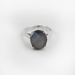 925 Sterling Silver Rhodium Plated Labradorite Ring Jewelry Prong Setting