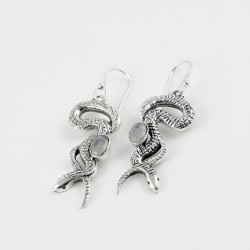 925 Sterling Silver Snake Design Rainbow Moonstone Earring Jewelry