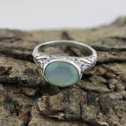 Morning Frost !! Chalcedony 925 Sterling Silver Ring Jewelry