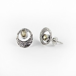 925 Sterling Silver Yellow Citrine Stud Earring Handmade Jewelry