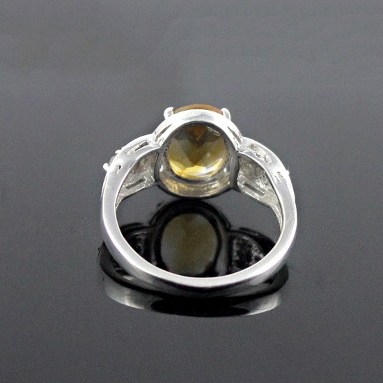 American Diamond Citrine 925 Sterling Silver Rhodium Plated Handmade Ring