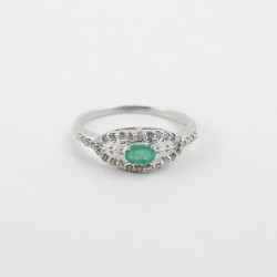 American Diamond Emerald Rhodium Plated 925 Sterling Silver Ring Handmade Jewelry Prong Setting