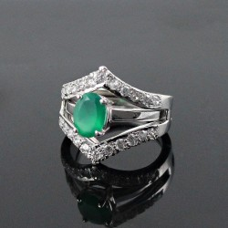American Diamond Green Onyx Rhodium Plated 925 Sterling Silver Ring Jewelry