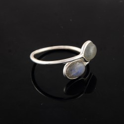 Labradorite Oval Shape Silver Gemstone Ring