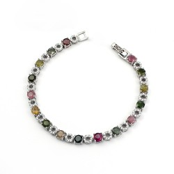 Adorable Tourmaline Gemstone 925 Sterling Silver Bracelet Handmade Jewelry Gift For Her