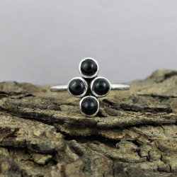 Alluring Black Onyx 925 Sterling Silver Ring Jewelry Gift For Her