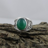 Natural Green Onyx Gemstone 925 Sterling Silver Ring Jewelry