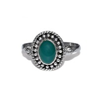 Simple !! Natural Green Onyx 925 Sterling Solid Silver Ring Women Jewelry
