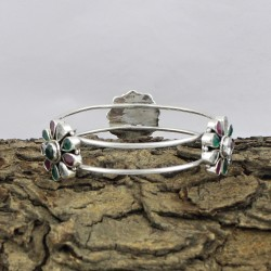 Alluring Multi Color CZ 925 Sterling Silver Bangle