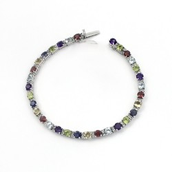 Alluring Multi Gemstone 925 Sterling Silver Bracelet Jewelry Gift For Her