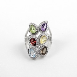Adorable Pear Shape Multi Stone Rhodium Plated 925 Silver Ring