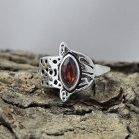 Natural Red Garnet 925 Sterling Silver Ring