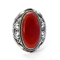 Alluring Red Onyx Oval Shape 925 Sterling Silver Ring