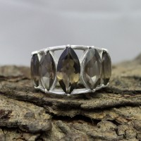 All Of Us !! Smoky Quartz 925 Sterling Silver Ring
