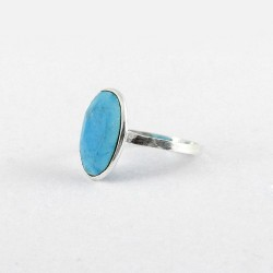 American Turquoise 925 Sterling Silver Solitaire Ring Wholesale Silver Jewelry Gift For Her