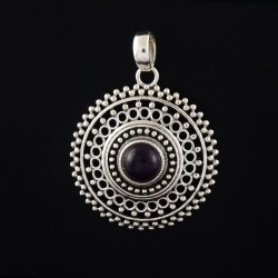 Amethyst 925 Sterling Silver Circle Design Handmade Pendant Jewelry