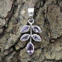 Leaf !! Design Amethyst 925 Sterling Silver Pendant Jewelry