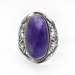Amethyst Gemstone 925 Sterling Silver Solitaire Ring Jewelry