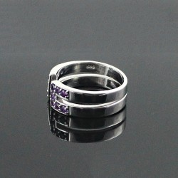 Natural Amethyst 9252 Sterling Silver Rhodium Plated Handmade Ring Jewelry