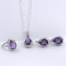 Amethyst American Diamond Ring Earring Jewelry Set 925 Sterling Silver Rhodium Polished Jewelry Set For Her