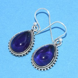 Amethyst Drops Earring Teardrop Earring Solid 925 Sterling Silver Oxidized Silver Jewelry